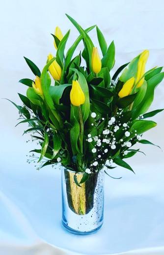 florero tulipan plateado